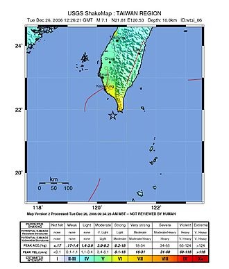 2006 Hengchun earthquakes - USGS ShakeMaps showing locations and similar intensity patterns