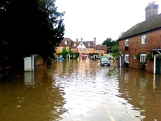 Aldermaston - The 2007 floods affected the lower end of The Street