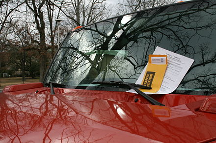 Parking tickets on a vehicle in Durham, North Carolina 2009-02-26 Red Hummer with parking citation.jpg