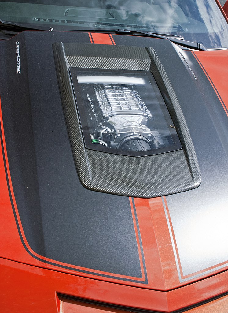 File:2011 Chevrolet Camaro SS hood, Callaway Supercharged ...