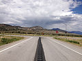 2014-08-09 13 30 52 View north along U.S. Route 93 about 26.7 miles north of the Lincoln County line at the junction with U.S. Routes 6 and 50 in Majors Place, Nevada.JPG