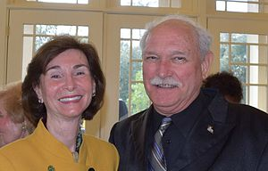 Sally Clausen - Dr Sally Clausen at Southeastern Louisiana University's 2015 Chefs Evening fundraising event (retired professor Dr David Ramsey, right)