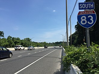 Interstate 83 - I-83 southbound on the Jones Falls Expressway past Northern Parkway in Baltimore