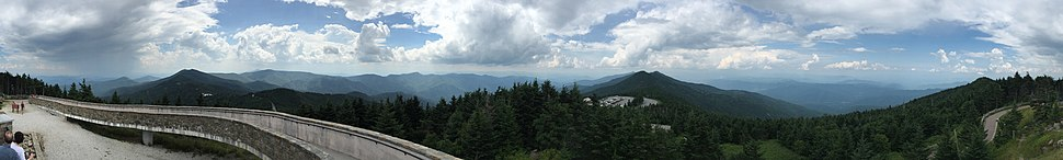 360-degree panorama from the summit of Mount Mitchell