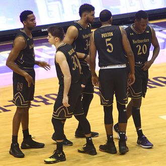 2016–17 Northwestern Wildcats men's basketball team - The starting 5 (left to right) Vic Law, Bryant McIntosh, Sanjay Lumpkin, Derek Pardon, and Scottie Lindsey