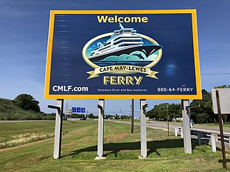 Cape May–Lewes Ferry - Sign for the ferry at the south end of US 9 in New Jersey