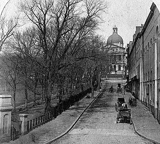Park Street, Boston - Park Street, Boston, 19th-century Boston Common (at left), Massachusetts State House (at top)