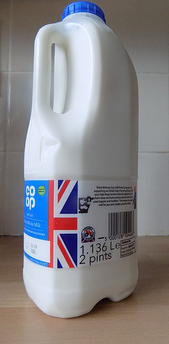 Pint - Pints are still commonly used alongside metric labeling for milk in the United Kingdom (2018)