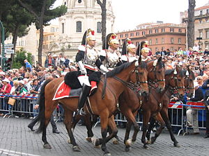 Cuirassier - Italian corazzieri during a public event