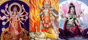 Hindu denominations - Shaktism is a Goddess-centric tradition of Hinduism. From left: Durga, Kali and Saraswati