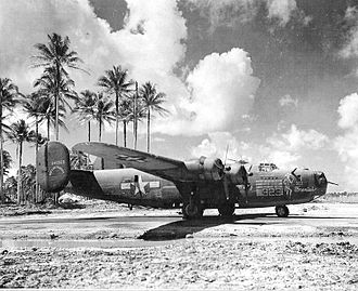 """307th Operations Group - """"Frenisi"""" B-24D-50-CO 42-40323, 424th Bombardment Squadron. Flew a total of 104 combat missions in the Pacific. Photo taken: 8 September 1944, Wakde Airfield, Netherlands East Indies, 1944."""