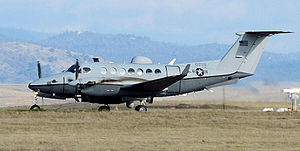 427th Reconnaissance Squadron - MC-12 Liberty taking off from Beale AFB, 25 January 2013
