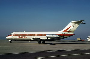 Munich-Riem Airport - Aerolinee Itavia DC-9 registration I-TIGI seen at the airport in 1972, This Aircraft went down as Flight 870.