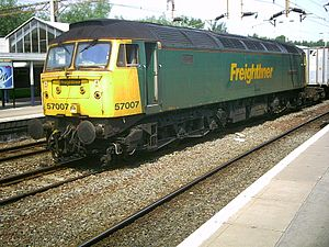 British Rail Class 57 - Freightliner 57007 at Northampton station in July 2006