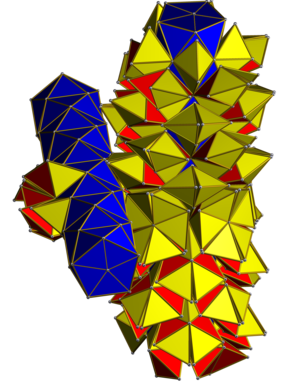 Grand antiprism - The regular 600-cell can be decomposed with the symmetry of the grand antiprism, with each of the 20 blue pentagonal antiprisms being divided into 15 regular tetrahedra.