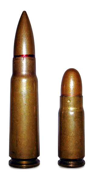 "Full metal jacket bullet - Examples of FMJ bullets in their usual shapes: pointed (""spitzer"") loaded in the 7.62×39mm rifle and round-nosed loaded in the 7.62×25mm pistol cartridges"