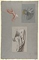 A. Hand of Saint Remi; b. Hand of Saint Remi; c. Drapery Study for Acolyte Holding Book (middle register); (studies for wall paintings in the Chapel of Saint Remi, Sainte-Clotilde, Paris, 1858) MET DP812042.jpg
