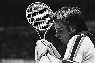 Jimmy Connors - Connors at the 1978 ABN Tennis Tournament holding his Wilson T2000 steel racket