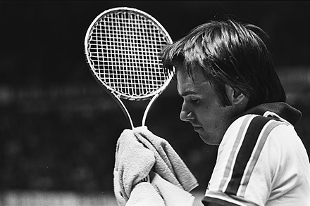 Connors at the 1978 ABN Tennis Tournament holding his Wilson T2000 steel racket
