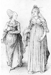 Albrecht Dürer's drawing contrasts a well turned out bourgeoise from Nuremberg (left) with her counterpart from Venice, in. The Venetian lady's high chopines make her taller.