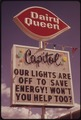 AFTER THE OREGON GOVERNOR BANNED NEON AND COMMERCIAL LIGHTING DISPLAYS, FIRMS USED THEIR UNLIT SIGNS TO CONVEY ENERGY... - NARA - 555389.tif