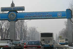 Karasay District - The welcome-sign at the entrance to the Karasay district from Almaty city