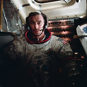 Eugene Cernan - Cernan in the LM after EVA 3 on Apollo 17
