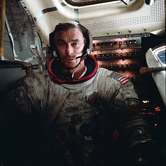 Gene Cernan - Cernan in the LM after EVA 3 on Apollo 17