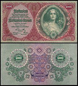 Austria 5000 Krone 1922 Obv Rev Jpg