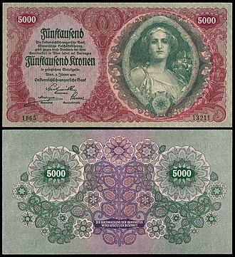 Austrian krone - Image: AUSTRIA 5000 Krone (1922) obv+rev