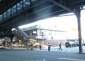 111th Street (IND Fulton Street Line) - Southwest street stair on the southeast corner of Liberty Avenue and 109th Street