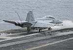 A U.S. Navy F-A-18F Super Hornet aircraft assigned to Strike Fighter Squadron (VFA) 154 launches from the aircraft carrier USS Nimitz (CVN 68) in the Arabian Sea Aug. 17, 2013 130817-N-UV347-353.jpg