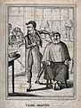 A barber shaving a friar; in the left-hand background a monk Wellcome V0019696.jpg