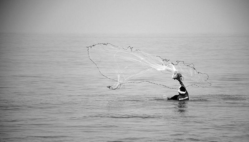 File:A fisherman casting a net neat Kozhikode Beach.jpg