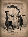 A man influenced by the fashion for hydropathy stands in the in the rain and encounters a friend. Wellcome V0011794.jpg