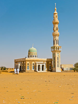 Islam in Sudan - A mosque near a rest stop between Khartoum and Karima.
