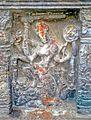 A relief of Goddess Mahishasuramaardhini on the walls of Sri Mukhalingam temple.jpg