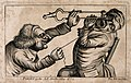 A sadistic tooth-drawer frightening his patient with a hot c Wellcome V0012042.jpg