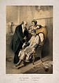 A sick man projects his tongue while a doctor takes his puls Wellcome V0016093.jpg