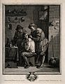 A surgeon lancing a grimacing man's shoulder. Engraving by J Wellcome V0016731.jpg
