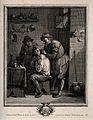 A surgeon lancing a grimacing man's shoulder. Engraving by J Wellcome V0016731.jpg