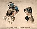 A young girl with a large bow in her hair faces a young boy Wellcome V0039169.jpg