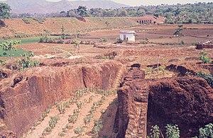 Abandoned laterite quarry at Angadipuram, Kera...
