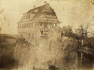 Lichtenstein Castle (Württemberg) - Demolition of the old lodge, 1839