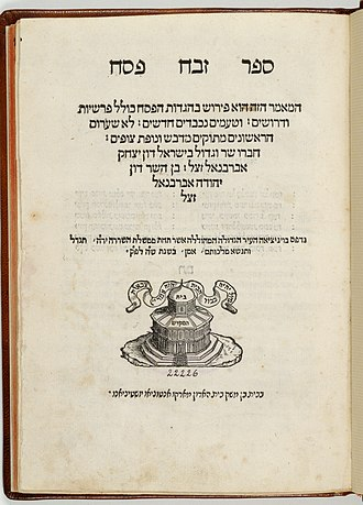 Isaac Abarbanel - Title page of the second edition of Abarbanel's commentary on the Passover Haggadah, Sefer Zebach Pesacḥ from 1545.