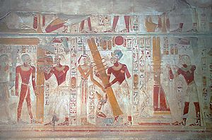 Djed - A scene on the west wall of the Osiris Hall at Abydos shows the raising of the Djed pillar.