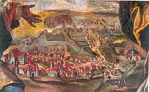 Laupheim - Laupheim 1726 with Großlaupheim Castle on the left and Kleinlaupheim Castle at the top