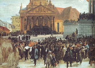Neue Kirche, Berlin - The coffins of the casualties of the March Revolution at the German Church with its old prayer hall from 1708, painting by Adolph Menzel.