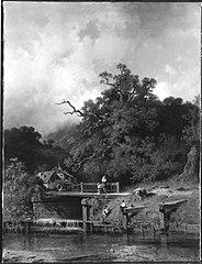 Flusslandschaft mit Mühle und Wehr