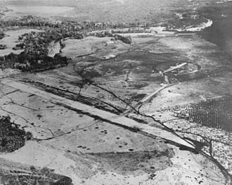 Naval Battle of Guadalcanal - Aerial view of Henderson Field on Guadalcanal, late August 1942. The view looks northwest with the Lunga River and Lunga Point at the top of the image.